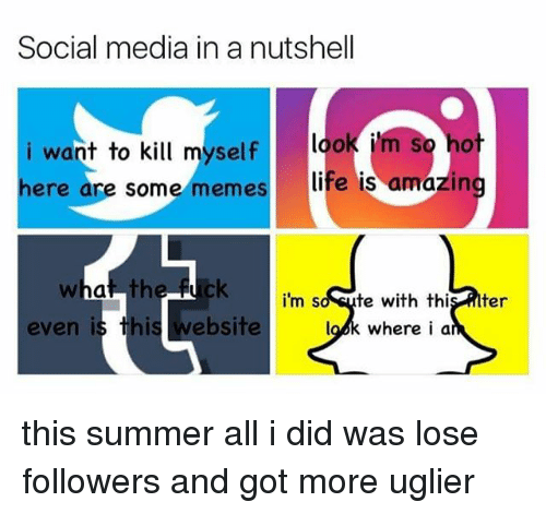 Life, Memes, and Social Media: Social media in a nutshell  i want to kill myself look i'm  ere are some memes  life is amazin  i'm so sute with this lter  look where i a  even is this website this summer all i did was lose followers and got more uglier