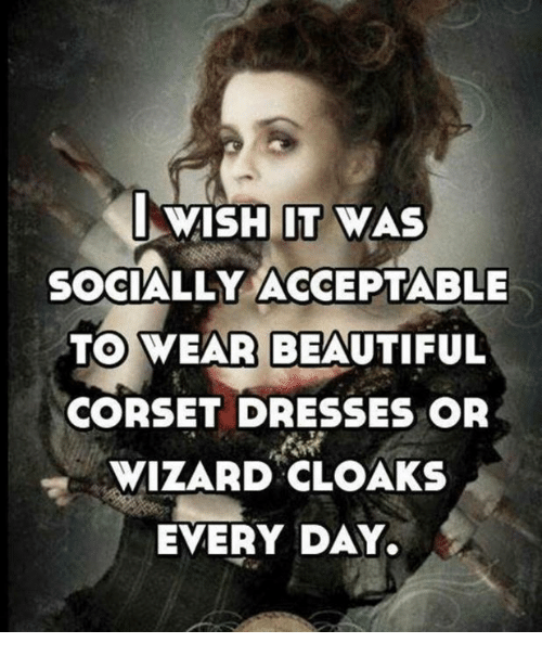 Beautiful, Memes, and Dresses: SOCIALLY ACCEPTABLE  TO WEAR BEAUTIFUL  CORSET DRESSES OR  WIZARD CLOAKS  EVERY DAY.