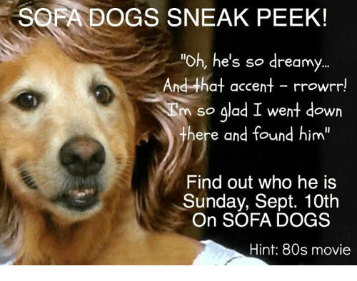 """80s, Dogs, and Memes: SOFA DOGS SNEAK PEEK!  """"Oh, he's so dreamy  And that accent - rrowrr!  n so glad I went down  here and found him""""  Find out who he is  Sunday, Sept. 10th  On SOFA DOGS  Hint: 80s movie"""