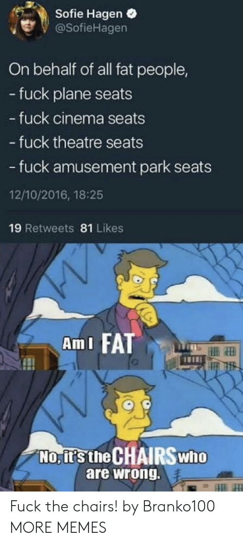 Dank, Memes, and Target: Sofie Hagen .  @SofieHagen  On behalf of all fat people,  - fuck plane seats  fuck cinema seats  - fuck theatre seats  - fuck amusement park seats  12/10/2016, 18:25  19 Retweets 81 Likes  AmI FATT  No, it's the CHAIRSwho  are wrong. Fuck the chairs! by Branko100 MORE MEMES