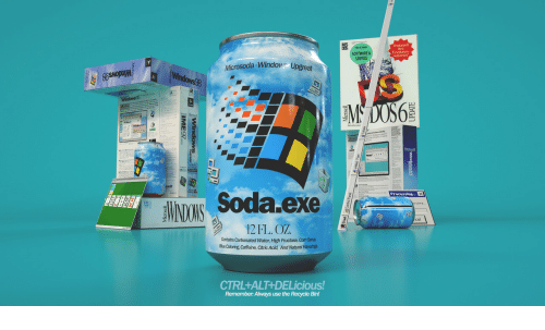 Soda, Water, and Software: SOFTWARE&  SERVICE  Festplatten-  kapazinat  Microsoda-Window Upgreat  Iu  Soda exe  Processing  12FL. OZ  Contains Carbonated Water, High Fructose, Com Synup  BueColoring Caffeine, Citric Acid, And Natural Rao  CTRL+ALT+DELicious!  Remember: Always use the Recycle Bin!