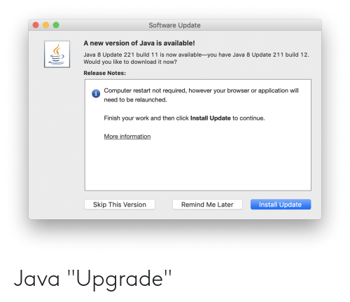 Software Update a New Version of Java Is Available! Java 8