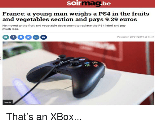 Soirgbe Ma France a Young Man Weighs a PS4 in the Fruits and