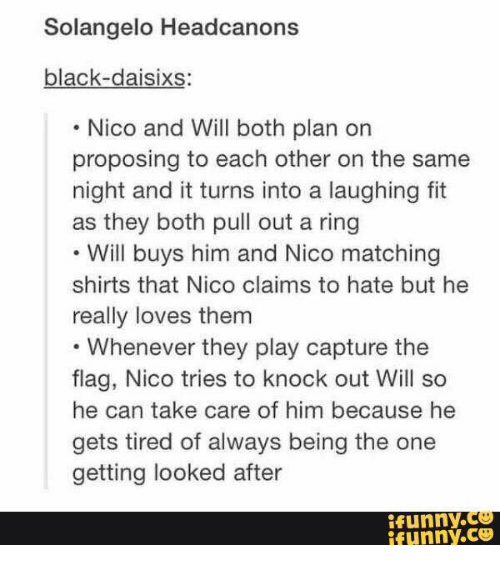 Solangelo Headcanons Black-Daisixs Nico and Will Both Plan on
