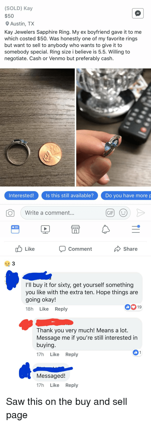 Sold Kay 50 Austin Tx Kay Jewelers Sapphire Ring My Ex Boyfriend Gave It To Me Which Costed 50 Was Honestly One Of My Favorite Rings But Want To Sell To Anybody