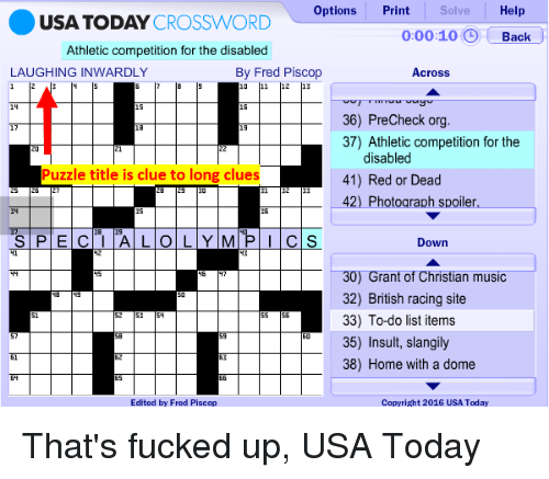 Solve Options Print Help Usa Today Crossword 00010 Back Athletic