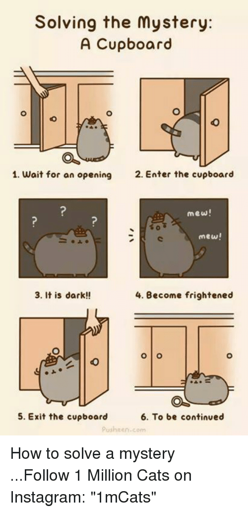 """Memes, 🤖, and Pusheen: Solving the mystery:  A Cupboard  1. wait for an opening  2. Enter the cupboard  mew!  mew!  3. It is dark!!  4. Become frightened  O O  6. To be continued  5. Exit the cupboard  pusheen, com How to solve a mystery    ...Follow 1 Million Cats on Instagram: """"1mCats"""""""