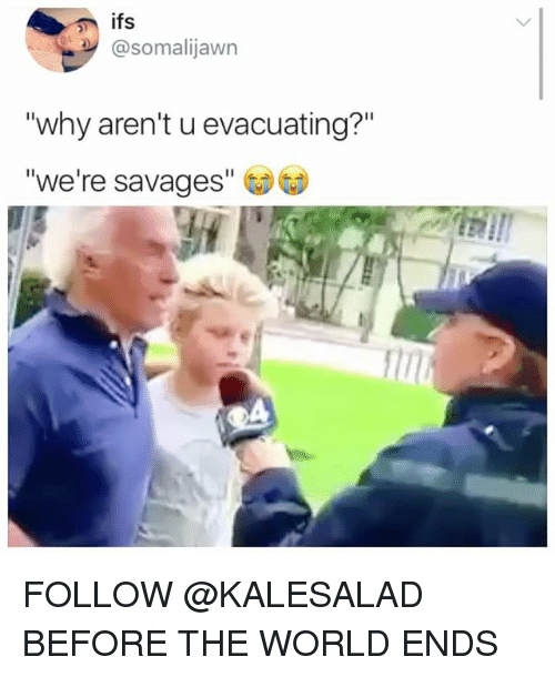 "Memes, World, and 🤖: @somalijawn  why aren't u evacuating?""  we're savages"" FOLLOW @KALESALAD BEFORE THE WORLD ENDS"
