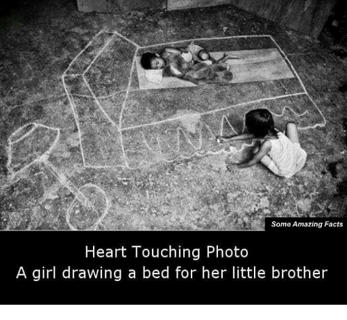 Memes, Drawings, and Little Brother: Some Amazing Facts  Heart Touching Photo  A girl drawing a bed for her little brother
