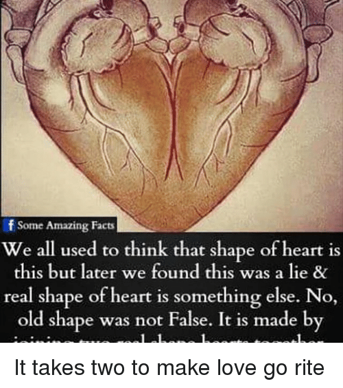 Facts, Love, and Memes: Some Amazing Facts  We all used to think that shape of heart is  this but later we found this was a lie &  real shape of heart is something else. No  old shape was not False. It is made by It takes two to make love go rite