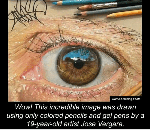 Memes, Image, and Images: Some Amazing Facts  Wow! This incredible image was drawn  using only colored pencils and gel pens by a  19-year-old artist Jose Vergara