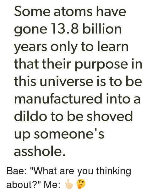 Some Atoms Have Gone 138 Billion Years Only to Learn That Their Purpose in  This Universe Is to Be Manufactured Into a Dildo to Be Shoved Up Someone S  ...