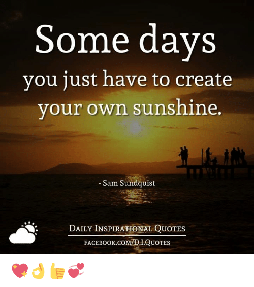 Make Your Own Quotes | Some Days You Just Have To Create Your Own Sunshine Sam Sundquist