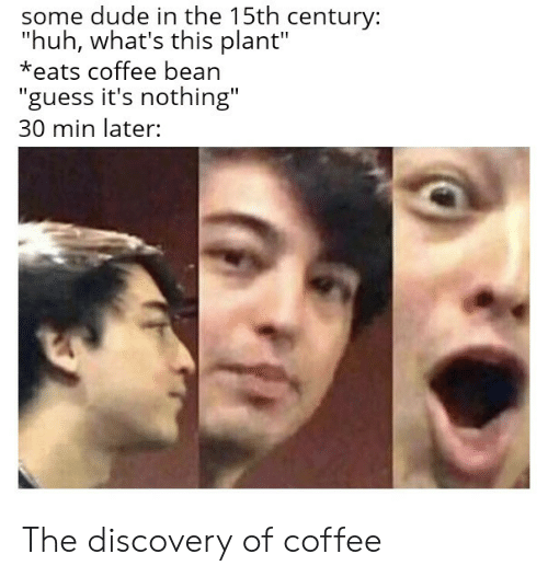 """Dude, Huh, and Coffee: some dude in the 15th century:  """"huh, what's this plant""""  *eats coffee bean  """"guess it's nothing""""  30 min later: The discovery of coffee"""