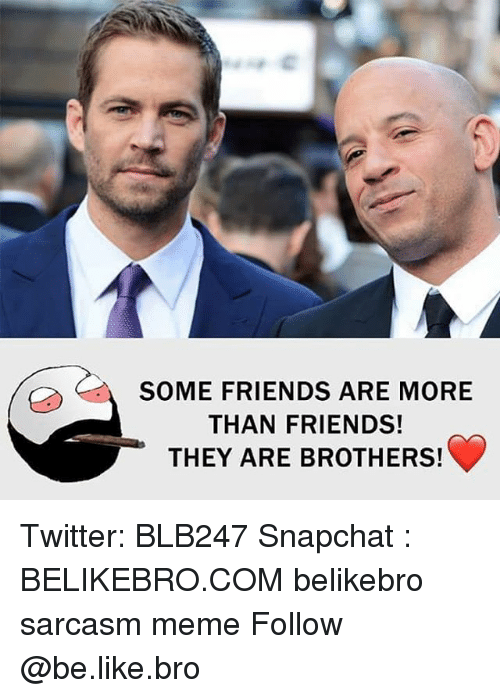 Be Like, Friends, and Meme: (/ SOME FRIENDS ARE MORE  THAN FRIENDS!  THEY ARE BROTHERS! Twitter: BLB247 Snapchat : BELIKEBRO.COM belikebro sarcasm meme Follow @be.like.bro