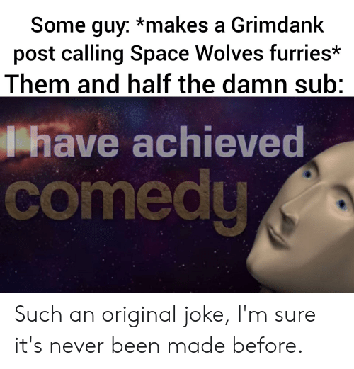 Space, Comedy, and Never: Some guy: *makes a Grimdank  post calling Space Wolves furries*  Them and half the damn sub:  have achieved  comedy Such an original joke, I'm sure it's never been made before.