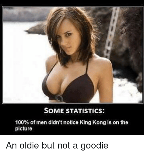 Anaconda, Statistics, and King Kong: SOME STATISTICS:  100% of men didn't notice King Kong is on the  picture