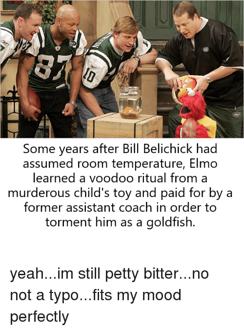Bill Belichick, Elmo, and Goldfish: Some years after Bill Belichick had  assumed room temperature, Elmo  learned a voodoo ritual from a  murderous child's toy and paid for by a  former assistant coach in order to  torment him as a goldfish.