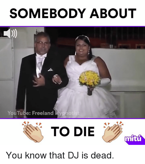 Memes, 🤖, and Hypnotize: SOMEBODY ABOUT  YouTube: Freeland  Hypnot  TO DIE  mitu You know that DJ is dead.