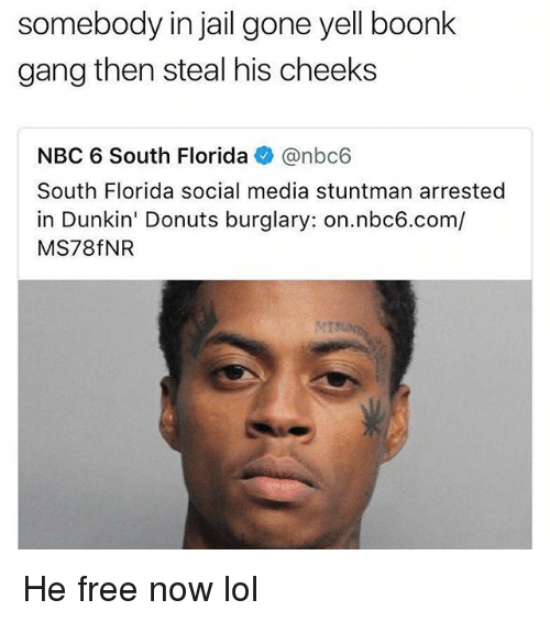 Funny, Jail, and Lol: somebody  gang then steal his cheeks  in  jail  gone  yell  boonlk  NBC 6 South Florida @nbc6  South Florida social media stuntman arrested  in Dunkin' Donuts burglary: on.nbc6.com/  MS78fNR He free now lol