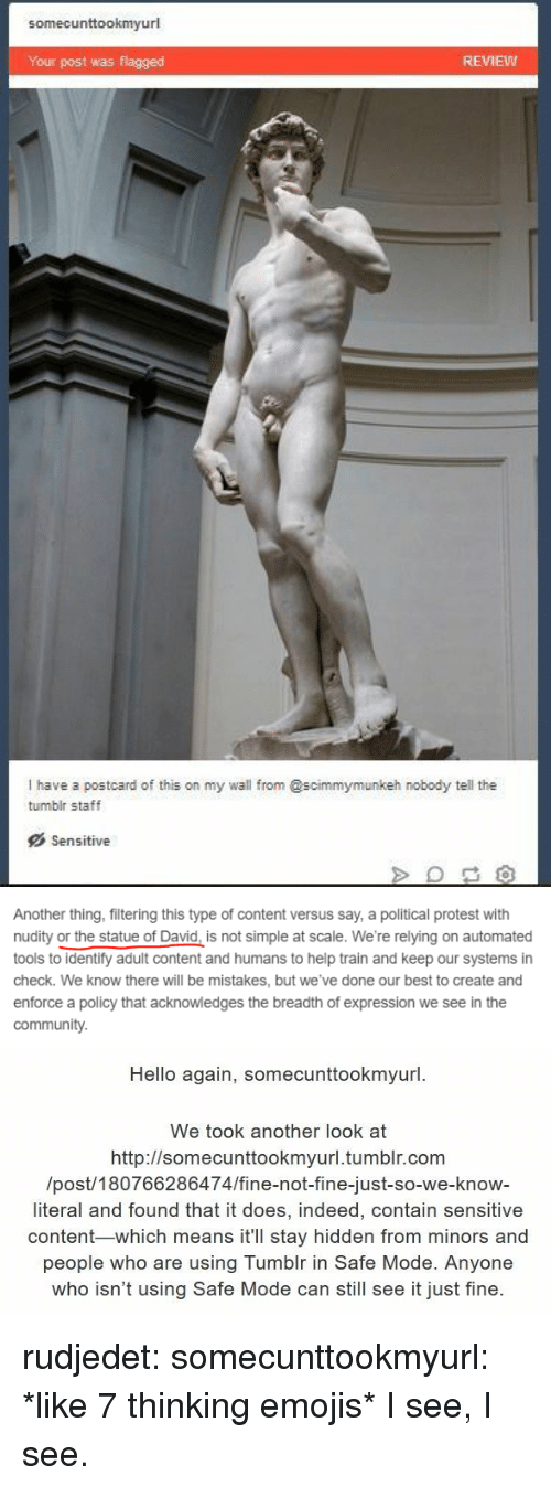 Hello, Protest, and Tumblr: somecunttookmyurl  Your post was flagged  REMEW  I have a postcard of this on my wall from @scimmymunkeh nobody tell the  tumblr staff  Sensitive   Another thing, filtering this type of content versus say, a political protest with  nudity or the statue of David, is not simple at scale. We're relying on automated  tools to identify adult content and humans to help train and keep our systems in  check. We know there will be mistakes, but we've done our best to create and  enforce a policy that acknowledges the breadth of expression we see in the  communit)y.   Hello again, somecunttookmyurl  We took another look at  http://somecunttookmvurl.tumblr.com  /post/180766286474/fine-not-fine-just-so-we-know-  literal and found that it does, indeed, contain sensitive  content-which means it'll stay hidden from minors and  people who are using Tumblr in Safe Mode. Anyone  who isn't using Safe Mode can still see it just fine. rudjedet: somecunttookmyurl: *like 7 thinking emojis* I see, I see.