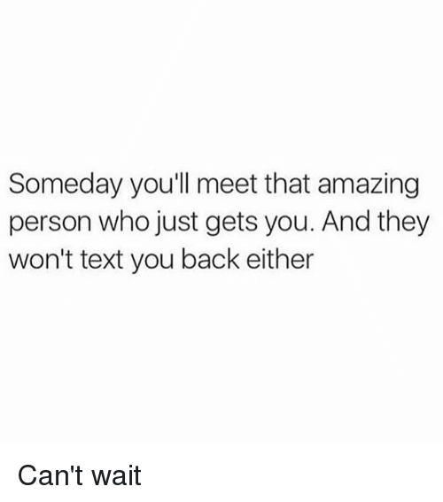 Memes, Text, and Amazing: Someday you'll meet that amazing  person who just gets you. And they  won't text you back either Can't wait
