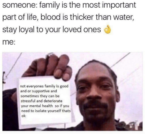 Family, Life, and Good: someone: family is the most important  part of life, blood is thicker than water,  stay loyal to your loved ones d  me:  not everyones family is good  and or supportive and  sometimes they can be  stressful and deteriorate  your mental health so if you  need to isolate yourself thats  ok