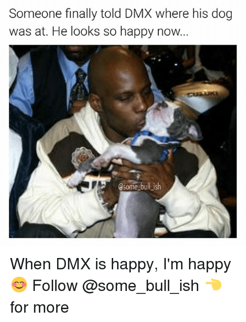 Dmx, Memes, and Happy: Someone finally told DMX where his dog  was at. He looks so happy now...  A @some bull ish When DMX is happy, I'm happy 😊 Follow @some_bull_ish 👈 for more