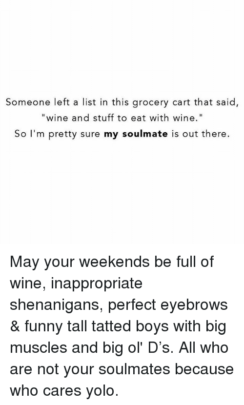 "Funny, Shenanigans, and Yolo: Someone left a list in this grocery cart that said,  ""wine and stuff to eat with wine""  So I'm pretty sure my soulmate is out there. May your weekends be full of wine, inappropriate shenanigans, perfect eyebrows & funny tall tatted boys with big muscles and big ol' D's. All who are not your soulmates because who cares yolo."
