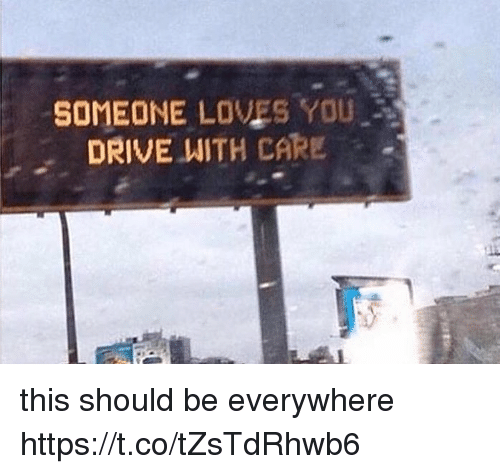 Drive, Girl Memes, and You: SOMEONE LOVES YOU  DRIVE WITH CARE this should be everywhere https://t.co/tZsTdRhwb6