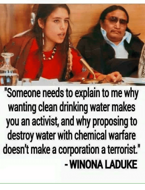 "Drinking, Memes, and Water: ""Someone needs toexplain to me Why  wanting clean drinking water makes  you an activist, and why proposing to  destroy water with chemical warfare  doesn't make a corporation a terrorist.  WINONA LADUKE"