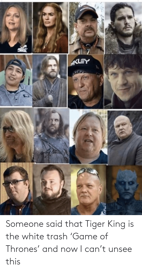 Trash, Tiger, and White: Someone said that Tiger King is the white trash 'Game of Thrones' and now I can't unsee this