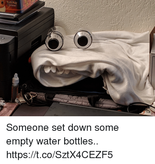 Water, Faces-In-Things, and Down: Someone set down some empty water bottles.. https://t.co/SztX4CEZF5