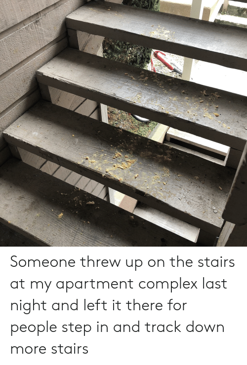 Complex, Trashy, and Step: Someone threw up on the stairs at my apartment complex last night and left it there for people step in and track down more stairs