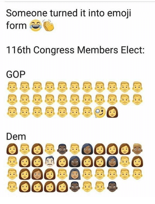 Emoji, Memes, and 🤖: Someone turned it into emoji  form  116th Congress Members Elect:  GOP  Dem
