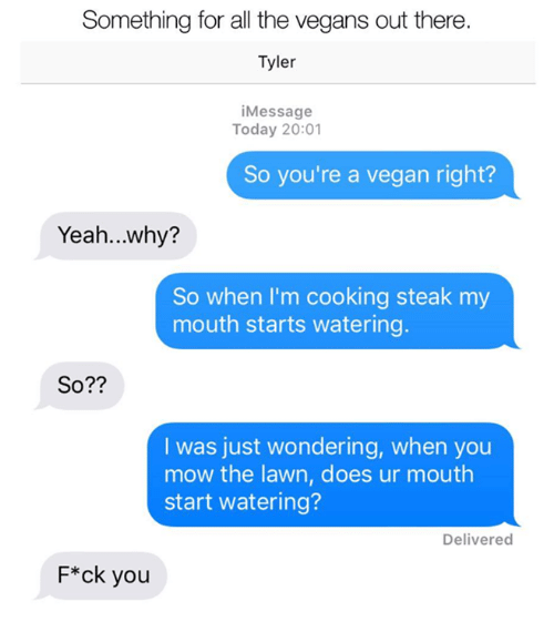 Memes, Vegan, and Yeah: Something for all the vegans out there.  Tyler  iMessage  Today 20:01  So you're a vegan right?  Yeah...why?  So when I'm cooking steak my  mouth starts watering  So??  I was just wondering, when you  mow the lawn, does ur mouth  start watering?  Deliverec  F*ck you