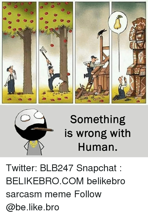Be Like, Meme, and Memes: Something  is wrong with  Human. Twitter: BLB247 Snapchat : BELIKEBRO.COM belikebro sarcasm meme Follow @be.like.bro