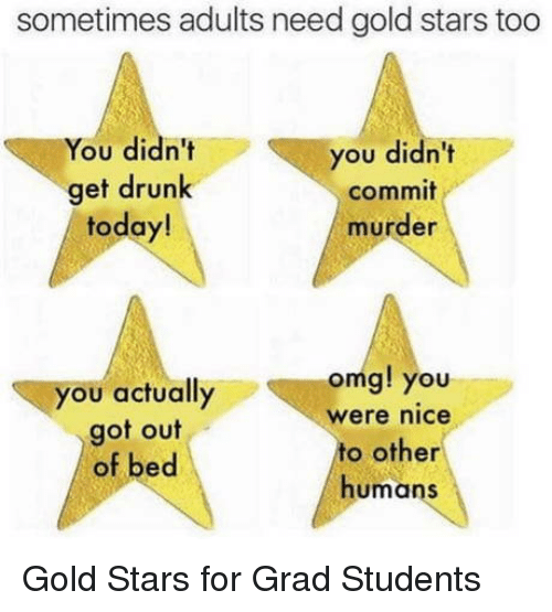 Drunk, Omg, and Stars: sometimes adults need gold stars too  You didn't  get drunk  today!  you didn't  commit  murder  you actually  got out  of bed  omg! you  were nice  to other  humans Gold Stars for Grad Students