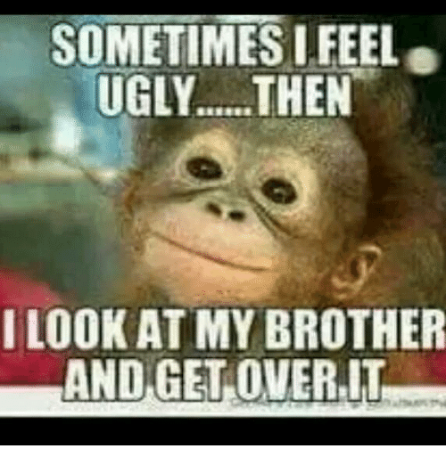 Memes, Ugly, and 🤖: SOMETIMES I FEEL  UGLY..... THEN  I LOOK ATMY BROTHER  AND GET OVER, IT