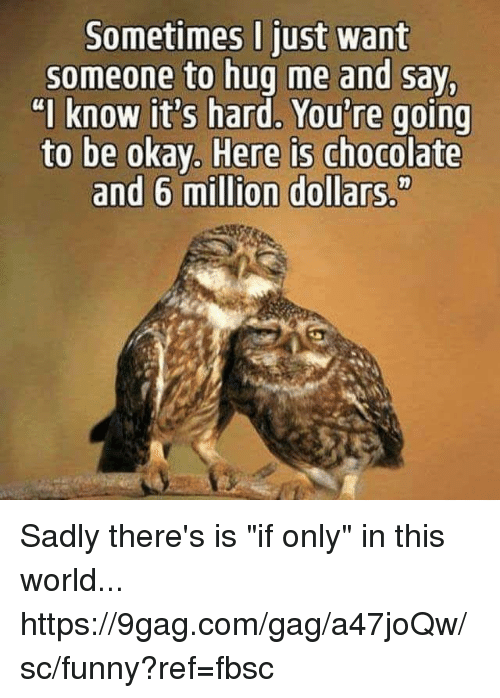 "9gag, Dank, and Funny: Sometimes I just want  someone to hug me and say,  ""I know it's hard, You're going  to be okay, Here is chocolate  and 6 million dollars,"" Sadly there's is ""if only"" in this world... https://9gag.com/gag/a47joQw/sc/funny?ref=fbsc"