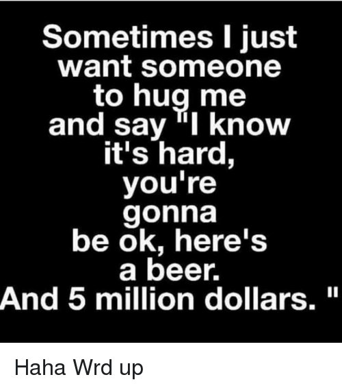 "Beer, Memes, and Haha: Sometimes I just  want someone  to hug me  and say ""I know  it's hard,  you're  gonna  be ok, here's  a beer.  And 5 million dollars."" Haha Wrd up"