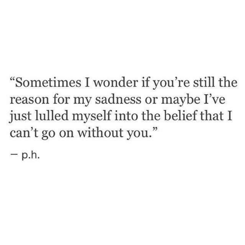 """Belief, Reason, and Wonder: """"Sometimes I wonder if you're still the  reason for my sadness or maybe I've  just lulled myself into the belief that I  can't go on without you."""""""