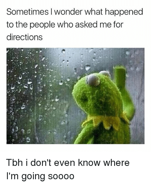 Tbh, Girl Memes, and Wonder: Sometimes I wonder what happened  to the people who asked me for  directions Tbh i don't even know where I'm going soooo
