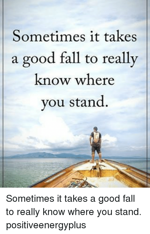 Fall, Memes, and 🤖: Sometimes it takes  a good fall to really  know where  you stand. Sometimes it takes a good fall to really know where you stand. positiveenergyplus