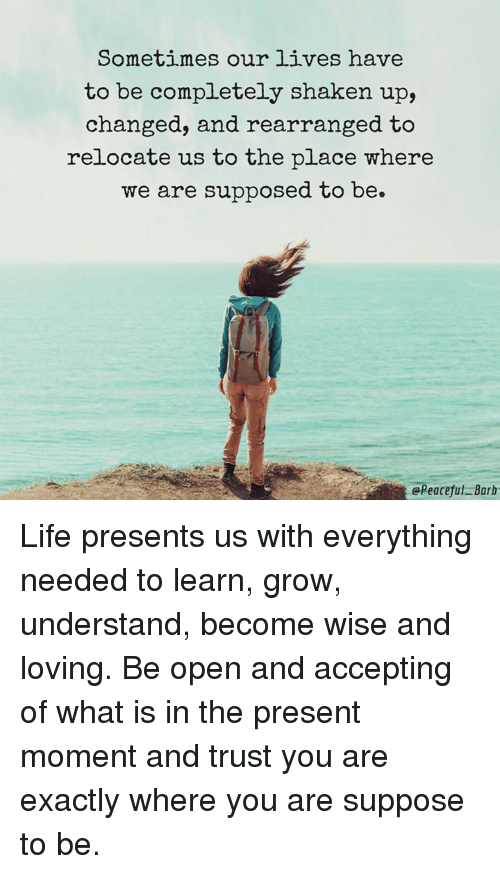Memes, 🤖, and Exacting: Sometimes our lives have  to be completely shaken up,  changed, and rearranged to  relocate us to the place where  we are supposed to be.  @Peaceful Barb Life presents us with everything needed to learn, grow, understand, become wise and loving.   Be open and accepting of what is in the present moment and trust you are exactly where you are suppose to be.