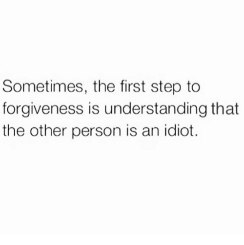 Dank, Forgiveness, and Idiot: Sometimes, the first step to  forgiveness is understanding that  the other person is an idiot.