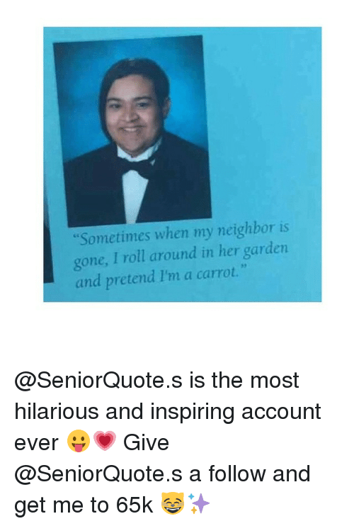 """Neighbors, Girl Memes, and Hilarious: """"Sometimes when my neighbor is  gone, I roll around in her garden  and pretend l'm a carrot @SeniorQuote.s is the most hilarious and inspiring account ever 😛💗 Give @SeniorQuote.s a follow and get me to 65k 😸✨"""