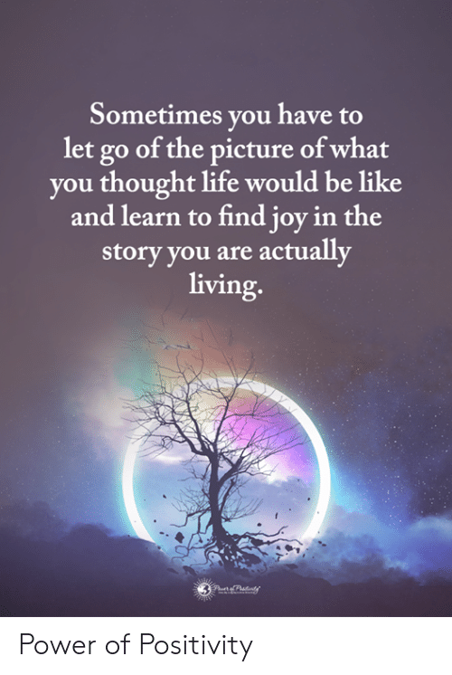 Be Like, Life, and Memes: Sometimes you have to  let go of the picture of what  you thought life would be like  and learn to find joy in the  storv you are actually  living Power of Positivity