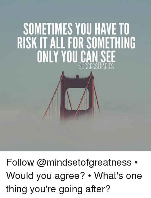 Memes, 🤖, and Can: SOMETIMES YOU HAVE TO  RISK IT ALL FOR SOMETHING  ONLY YOU CAN SEE  SUCCESSUIARIES Follow @mindsetofgreatness • Would you agree? • What's one thing you're going after?