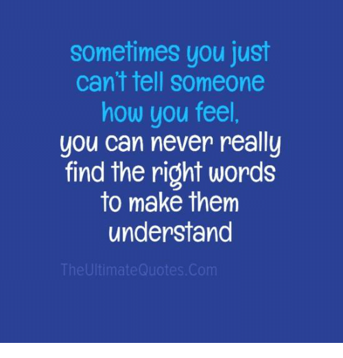 Sometimes You Just Cant Tell Someone How You Feel You Can Never